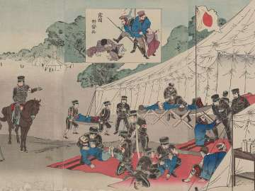 Russo-Japanese War: Great Japan Red Cross Battlefield Hospital Treating Injured (Nichiro sensô dai Nihon Sekijûji yasenbyôin fushôsha kyûryô no zu)