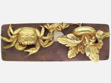Pair of kanamono in the form of a crab and young and a turnip, with backplate engraved with reeds and water