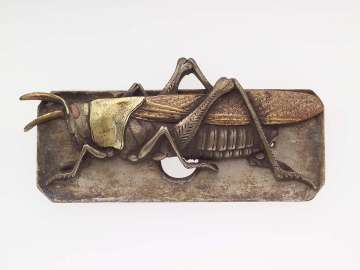 Kanamono in the form of a grasshopper, with backplate