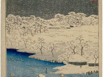 Twilight Snow at Hashiba (Hashiba bosetsu), from the series Eight Views of the Sumida River (Sumidagawa hakkei)