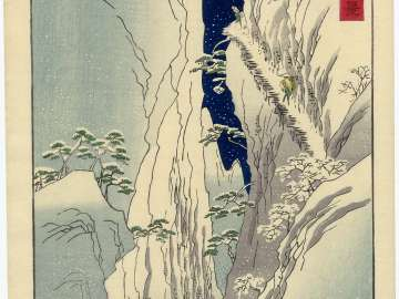 Snow on the Kiso Gorge in Shinano Province (Shinshû Kiso no yuki), from the series One Hundred Famous Views in the Various Provinces (Shokoku meisho hyakkei)