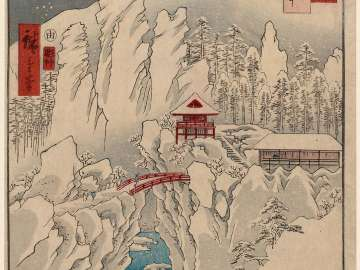 Kôzuke Province: Mount Haruna Under Snow (Kôzuke, Harunasan setchû), from the series Famous Places in the Sixty-odd Provinces [of Japan] ([Dai Nihon] Rokujûyoshû meisho zue)