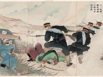 In the Battle of the Sha River, a Company of Our Right-Wing Forces Drives a Strong Enemy Force to the Left Bank of the Taizi River (Shaka no kaisen ni waga uyokugun no ichi jûtai gankyô no teki o Taishika no sagan ni gekitsui)