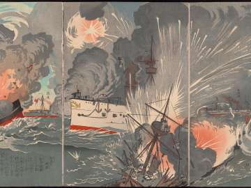 Great Victory of Our Forces at the Battle of the Yellow Sea--Second Illustration (Kôkai ni okeru wagagun no daishô, dai ni zu)