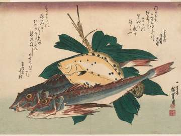 Gurnards, Flatfish, and Bamboo Grass, from an untitled series known as Large Fish