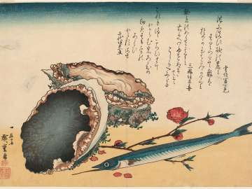 Abalone, Needlefish, and Peach Blossoms, from an untitled series known as Large Fish