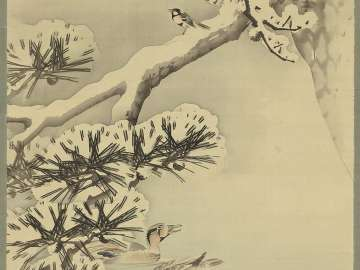 Birds and Pine Tree in Snow
