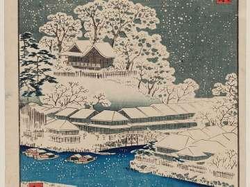 Imado Bridge and Matsuchiyama (Imado-bashi Matsuchiyama), from the series Thirty-six Views of the Eastern Capital (Tôto sanjûrokkei)