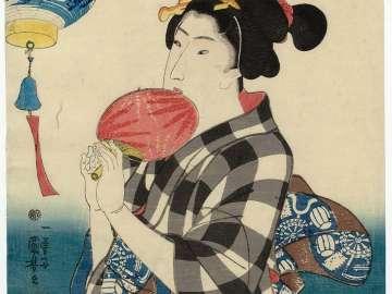 Lantern Representing the Bell of Miidera, from the series Women in Benkei-checked Fabrics (Shimazoroi onna Benkei)
