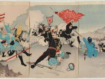 Chinese and Japanese Troops in a Great Battle at Gaiping (Nisshin ryôgun Gaihei daigekisen no zu)