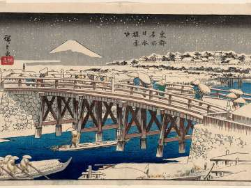 Nihonbashi Bridge in Snow (Nihonbashi setchû), from the series Famous Places in the Eastern Capital (Tôto meisho)