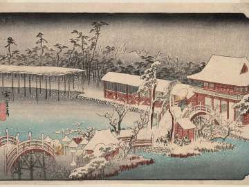 Snow in the Precincts of the Tenman Shrine at Kameido (Kameido Tenmangû keidai yuki), from the series Famous Places in the Eastern Capital (Tôto meisho)