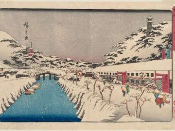 Snow at Akabane Bridge in Shiba (Shiba Akabane no yuki), from the series Famous Places in the Eastern Capital (Tôto meisho)