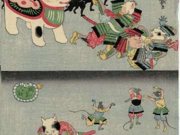 Cats Frightened by Toy Dog (above); Cat Using Mousetrap (below); from the series The War of Cats and Mice (Neko nezumi kassen)