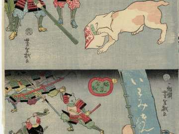 Cat with Head in Bag (above); Cats Attacking Mice (below); from the series The War of Cats and Mice (Neko nezumi kassen)