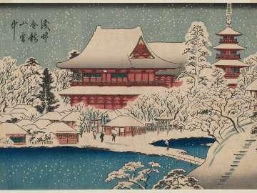 Kinryûzan Temple at Asakusa in Snow (Asakusa Kinryûzan setchû), from the series Famous Places in Edo (Edo meisho)