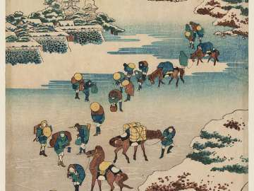 Crossing the Ice on Lake Suwa in Shinano Province (Shinshû Suwa kosui kôri watari)