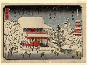 Twilight Snow at Asakusa (Asakusa no bosetsu), from the series Eight Views of the Eastern Capital (Tôto hakkei)