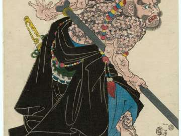 The Tattooed Priest Lu Zhishen (Kaoshô Rochishin), from an untitled series of Shuihuzhuan (Suikoden) heroes
