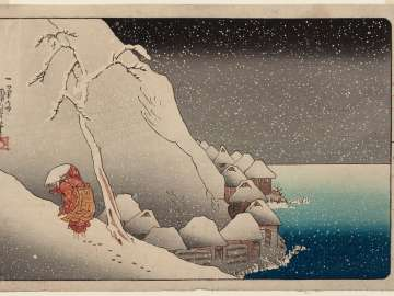 Nichiren in the Snow at Tsukahara on Sado Island (Sashû Tsukahara setchû), from the series Sketches of the Life of the Great Priest (Kôsô goichidai ryakuzu)