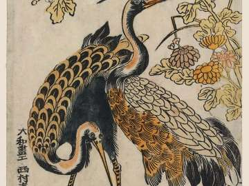 Cranes and Chrysanthemums, from the series Kashinsai (?)