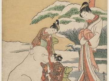 Courtesan Watching Two Kamuro Make a Snow Dog