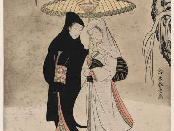 Lovers under an Umbrella in the Snow