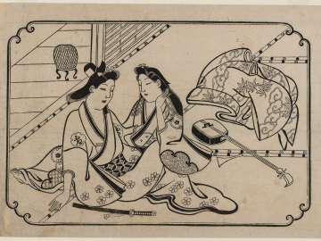 A Young Man Dallying with a Courtesan, from an untitled series of twelve erotic prints