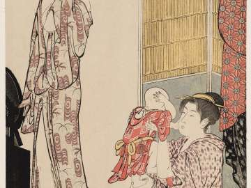 Woman in Bathrobe and Mother Playing with Baby, from the series Current Manners in Eastern Brocade (Fûzoku Azuma no nishiki)