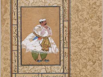"Album folio with portrait possibly of ""Mota Raja,"" Udai Singh of Marwar"