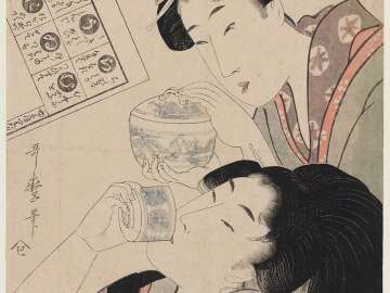 The Syllables Ra through Ku: Woman Drinking Tea and Companion with a Bowl of Rice, from an untitled Iroha series