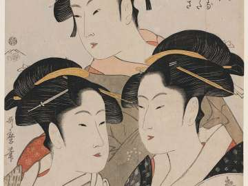 Three Beauties of the Present Day (Tôji san bijin): Tomimoto Toyohina, Naniwaya Kita, Takashima Hisa