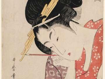 Hanaôgi of the Ôgiya (Ôgiya Hanaôgi, in rebus form), from the series Renowned Beauties Likened to the Six Immortal Poets (Kômei bijin rokkasen)
