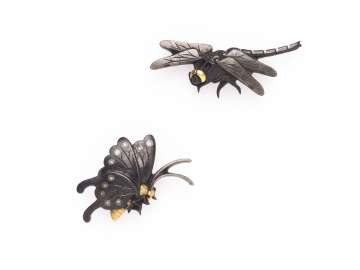 Pair of menuki in the form of a dragonfly and butterfly