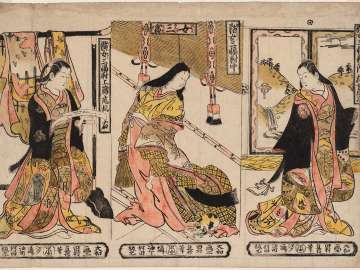 A Triptych of Charming Ladies (Enjo sanpukutsui): The Third Princess (Nyosan no miya) and Two Attendants