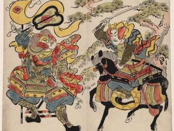 Uesugi Kenshin (R) and Takeda Shingen (L) at the Battle of Kawanakajima