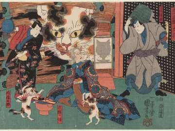 Okazaki, from the Fifty-three Stations: Actors Sawamura Sôjûrô V as Tamashima Ittô, Onoe Kikugorô III as the Spirit of an Old Cat (Koneko no sei), and Ichimura Uzaemon XII as Inabanosuke
