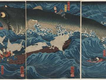 The Former Emperor [Sutoku] from Sanuki Sends His Retainers to Rescue Tametomo (Sanuki no in kenzoku o shite Tametomo o sukuu zu)