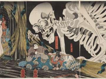 In the Ruined Palace at Sôma, Masakado's Daughter Takiyasha Uses Sorcery to Gather Allies; Ôya no Tarô Mitsukuni Comes Here to Investigate the Monsters and Finally Destroys Them (Sôma no furudairi ni Masakado himegimi Takiyasha yôjutsu o motte