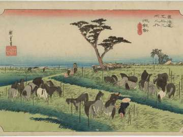 Chiryû: Early Summer Horse Fair (Chiryû, shuka uma ichi), first (?) state, from the series Fifty-three Stations of the Tôkaidô (Tôkaidô gojûsan tsugi no uchi), also known as the First Tôkaidô or Great Tôkaidô