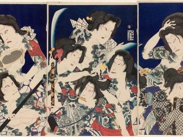 A Shuihuzhuan of Beautiful and Brave Women (Kayûjo Suikoden): Actors Bandô Hikosaburô V, Onoe Kikugorô V, Sawamura Tosshô II (R), Ôtani Tomoemon V, Sawamura Tanosuke III, Iwai Shijaku II, Nakamura Shikan IV (C), Kawarazaki Gonnosuke VII, Bandô