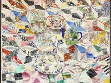 Quilt with Green Teapot