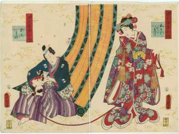 Ch. 50, Azumaya, from the series Lingering Sentiments of a Late Collection of Genji (Genji goshû yojô) [pun on The Fifty-four Chapters of the Tale of Genji (Genji gojûyojô)]