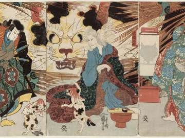 The Story of Nippondaemon and the Cat (Nippondaemon neko no koji): Actors Onoe Kikugorô III as Kotoura (?) (R), Onoe Kikugorô III as the Spirit of the Cat Stone (C), and Sawamura Sôjûrô V as Nippondaemon (L)