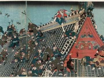 The Fight on the Roof of the Hôryûkaku, from The Tale of Eight Dogs (Hakkenden no uchi Hôryûkaku)