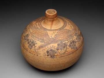 Decorated spheroid jar