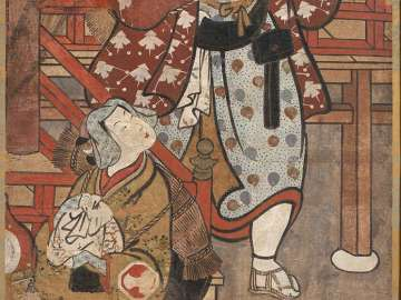 Theater Signboard Depicting Scenes from the Play Nue shigedô sakiwake yûsha e