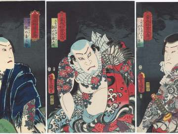 Pine: Actors Ichikawa Ichizô III as Nozarashi Gosuke, Comparable to Shi Jin the Nine Dragoned (Kyûmonryû Shishin ni hisu) (R); Nakamura Fukusuke I as Asahina Tôbei, Comparable to Lu Zhishen the Tattooed Priest (Kaoshô Rochishin ni hisu) (C), and
