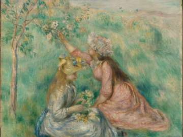Girls Picking Flowers in a Meadow