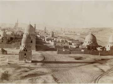 General view of the Tombs of the Caliphs and the Citadel of Cairo